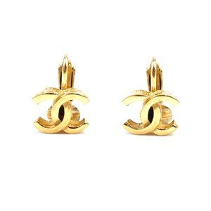 Chanel Gold Classic Cc Hardware Clip On Earrings